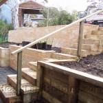 Retaining Wall and Sleeper Steps Heath Landscaping Tasmania